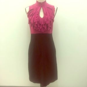 Black & hot pink block color dress with ruffle top